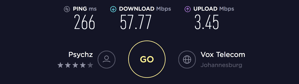Speed test result on South Africa server