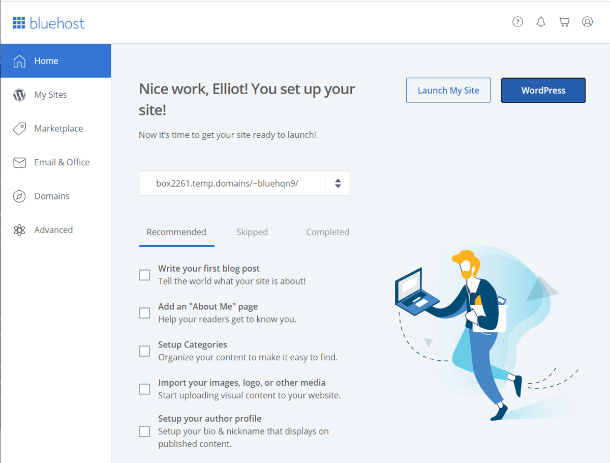 bluehost dashboard is simple and easy to navigate